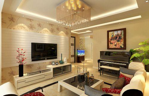 韩式风格四室两厅客厅电视背景墙装修效果图