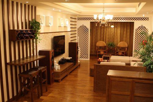 四居室东南亚风客厅隔断设计效果图