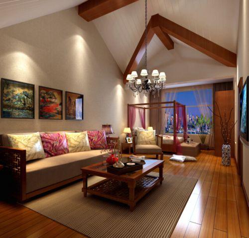 東南亞風格二居室客廳飄窗裝修效果圖欣賞