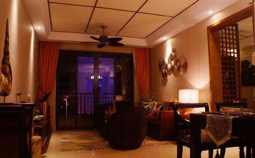东南亚风格肃穆客厅吊顶设计效果图