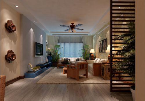 東南亞風格三居室客廳飄窗裝修效果圖欣賞