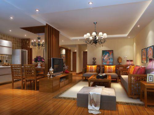 东南亚风格三居室客厅装修效果图大全