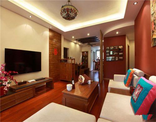 東南亞風格四居室客廳飄窗裝修效果圖大全