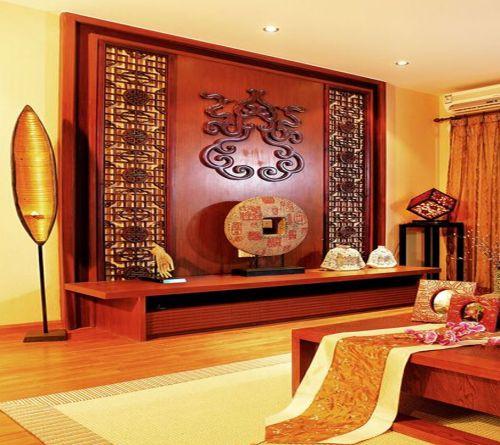 东南亚风格三居室客厅背景墙装修效果图大全