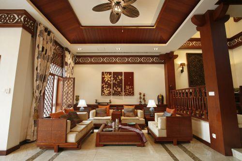 东南亚风格五居室客厅背景墙装修效果图