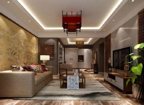 东南亚风格三居室客厅影视墙装修图片