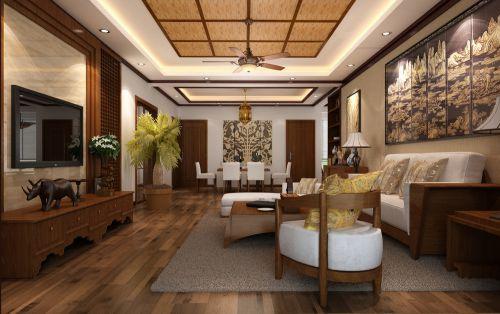 东南亚风格三居室客厅吊顶装修效果图