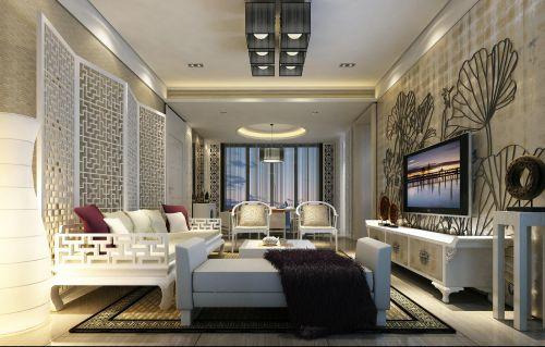 白色新古典风格客厅楼房装修图片大全