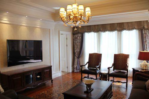 三居室古典文艺黄色客厅吊灯灯具效果图