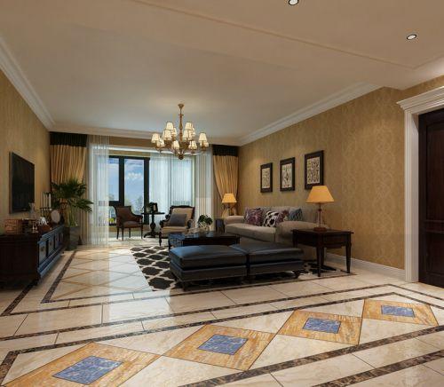 西式古典四居室客厅背景墙装修效果图欣赏