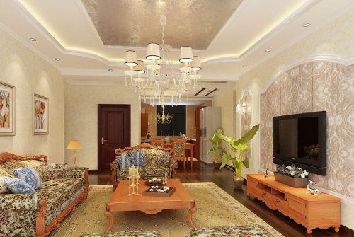 古典欧式风格客厅米色壁纸装修效果图