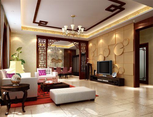 中式古典四居室客厅茶几装修效果图大全