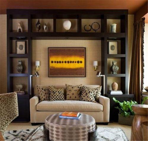 新古典风格四居室客厅黑色博古架效果图