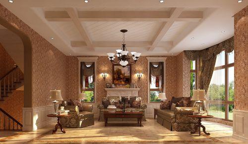 新古典风格别墅客厅飘窗装修图片