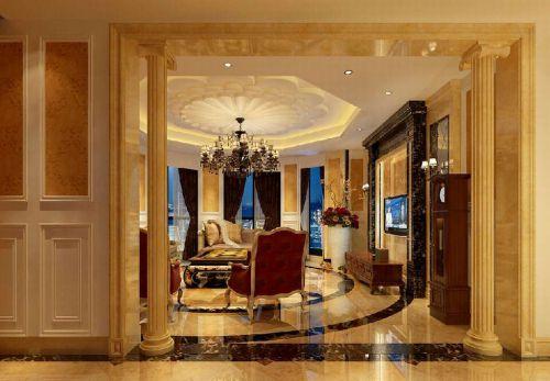 欧式古典三居室客厅吊顶装修效果图欣赏