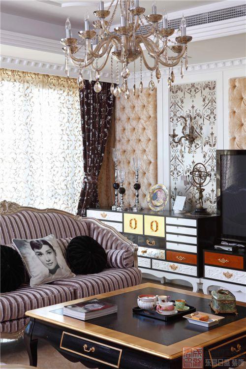 西式古典四居室客厅壁纸装修图片