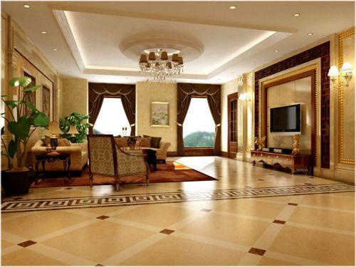古典风格别墅客厅窗帘装修效果图大全