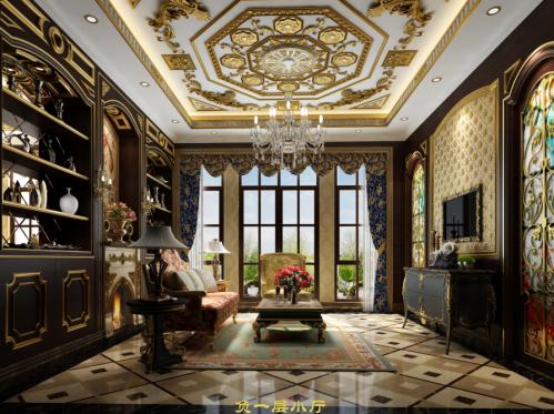 西式古典别墅客厅沙发装修效果图