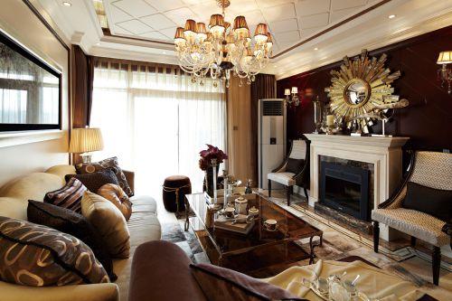 西式古典二居室客厅背景墙装修效果图欣赏