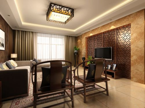中式古典四居室客厅装修图片欣赏