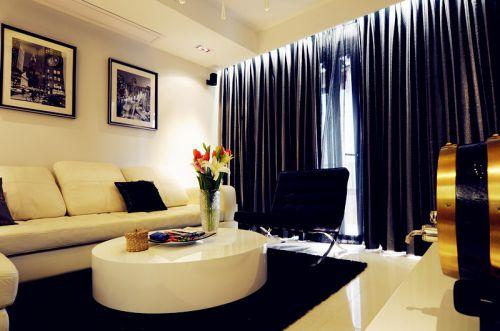 新古典风格二居室客厅影视墙装修图片