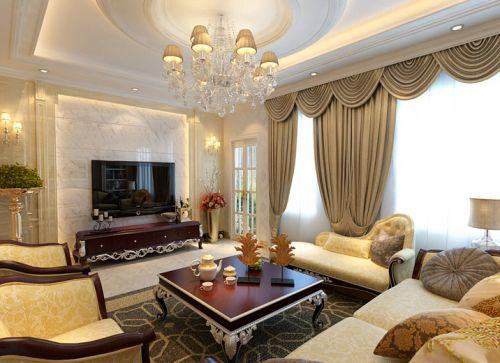 新古典风格三居室客厅壁纸装修图片