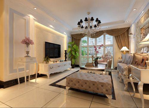 新古典风格三居室客厅背景墙装修图片