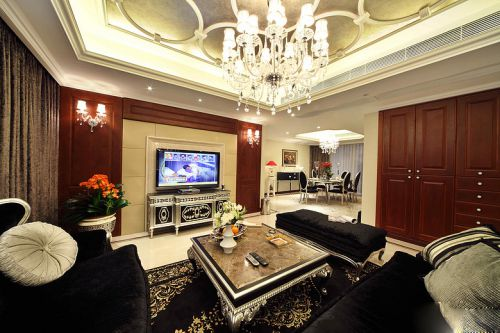 新古典风格四居室客厅吊顶装修效果图