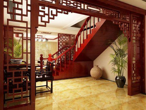新中式古典别墅客厅楼梯效果图