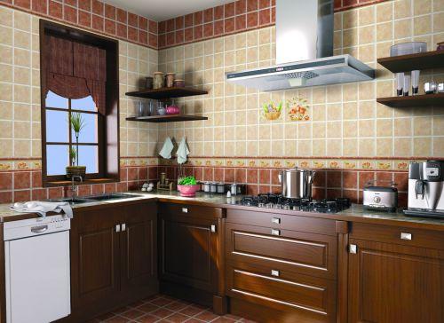 现代简约大气稳重原木厨房效果图