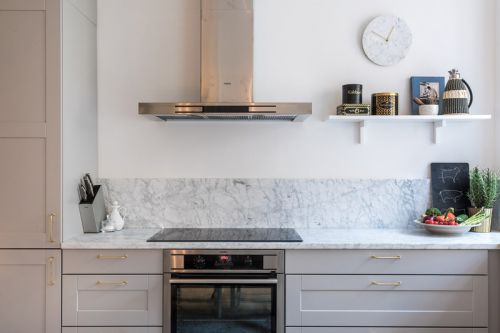 现代风格干净温馨开放式厨房装修图片