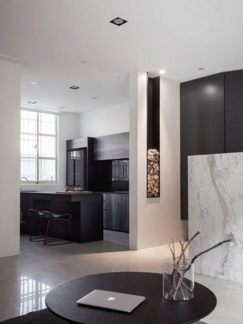 台湾现代简约三居黑色厨房装修效果图