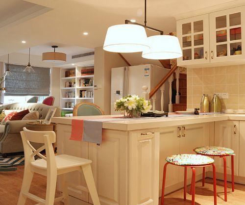 现代简约风格米色厨房吧台效果图