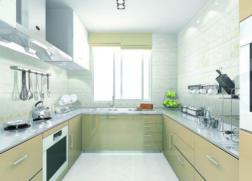 淡黄现代简约厨房设计效果图