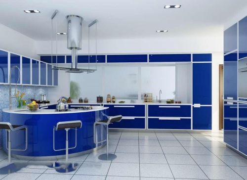 蓝色清新现代风格别墅厨房装修效果图