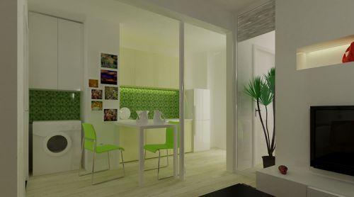 现代简约一居室厨房背景墙装修效果图欣赏