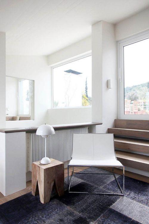 白色原木色简约风格客厅装修实景图