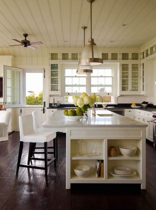 清爽明亮简欧风格开放式厨房吧台实景图