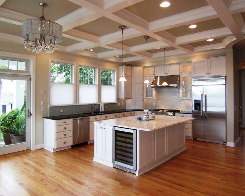 L型白色简欧带吧台厨房装修修效果图
