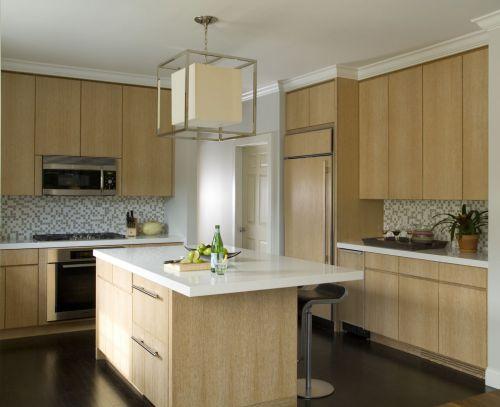 三居室简欧原木色厨房装修效果图
