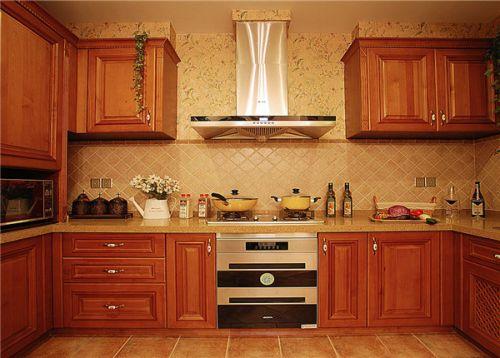 简欧风格三居室厨房灶台装修图片