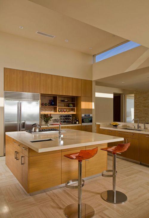 120平三居室简欧风格白色厨房吧台装修效果图