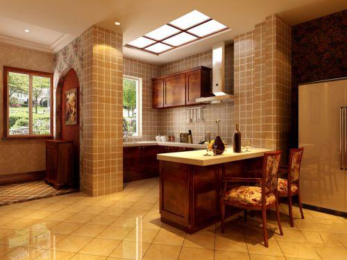 93平三居室简欧风格厨房白色吧台装修效果图