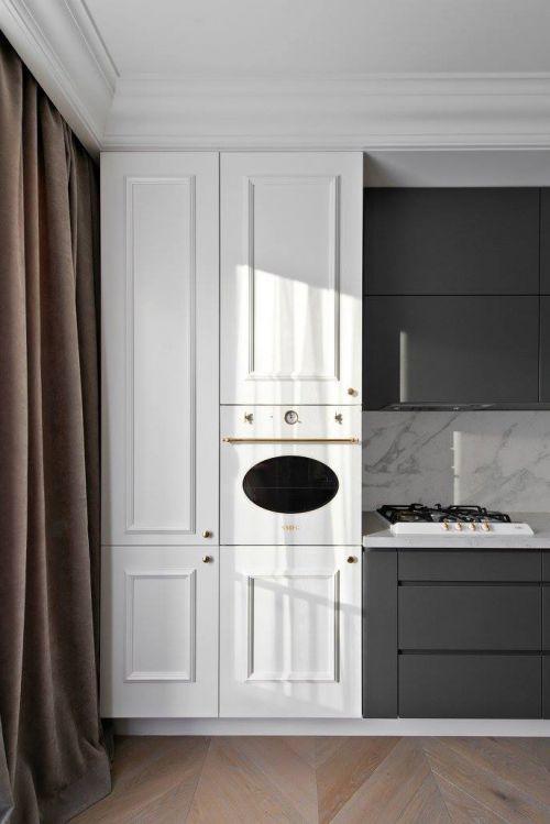 白色收纳式智能厨房电器装修效果图