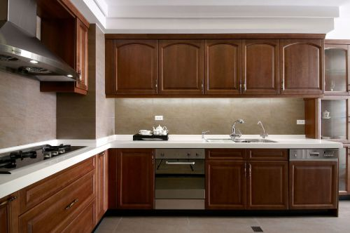 L型原木中式古典厨房装修效果图