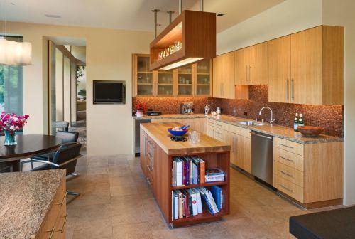 中式古典风格L型原木色厨房装修效果图