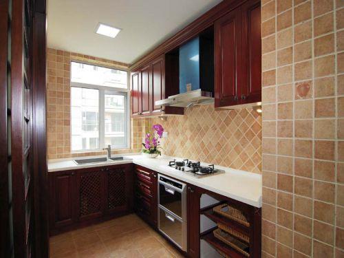 中式风格三居室厨房背景墙装修效果图