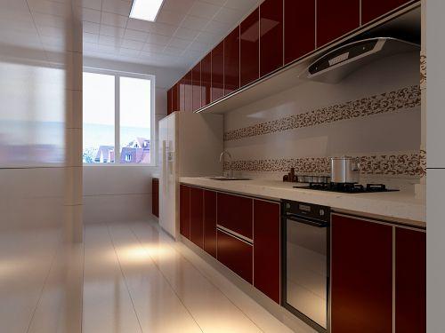 中式风格三居室厨房装修效果图欣赏