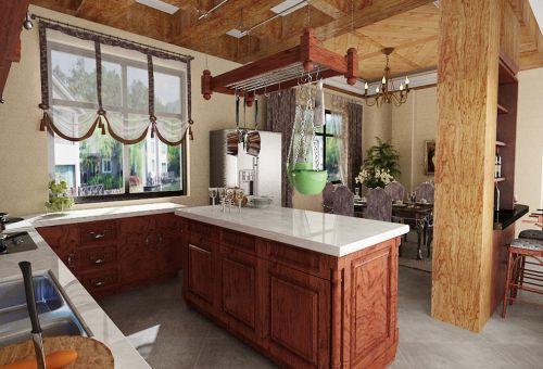 新中式别墅厨房装修效果图欣赏