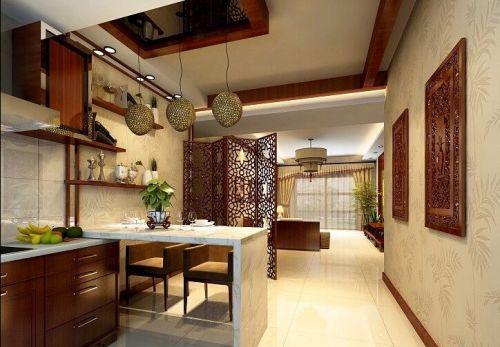 中式二居室厨房镂空屏风隔断装修实景图欣赏